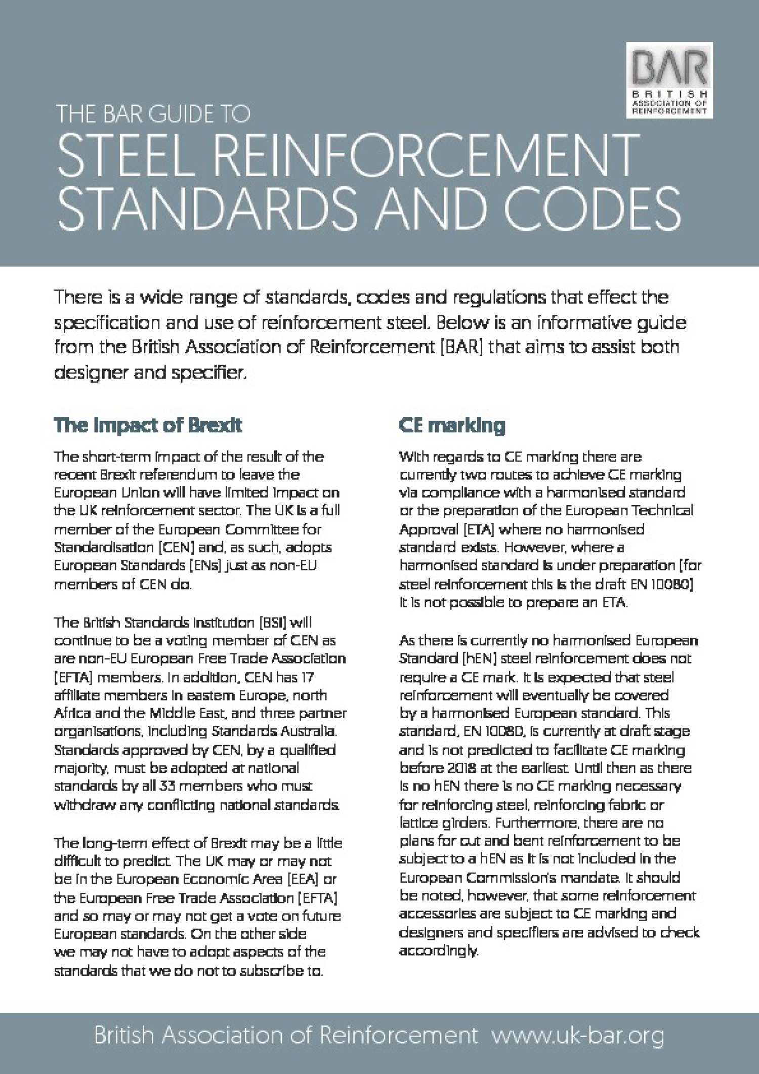 Guidance Note: Steel reinforcement standards guide